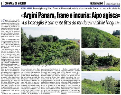 Articolo prima pagina 27 07 2015 su Argini Panaro
